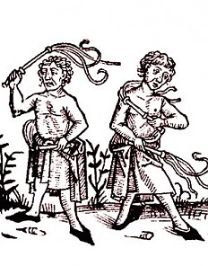 Flagellants, woodcut, 15th century