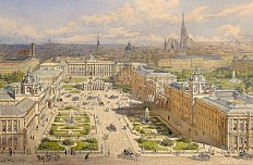 Franz Alt: 'The old and new Burgplatz in Vienna with the Imperial Forum project', 1873, watercolour