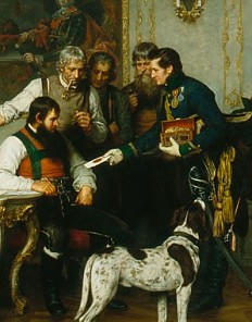 Franz von Defregger: Andreas Hofer with his advisers in the Hofburg at Innsbruck, oil painting, 1879