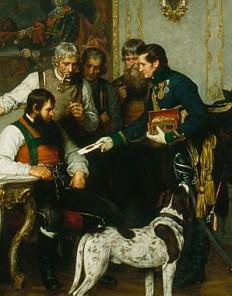 Franz von Defregger: Andreas Hofer mit seinen Beratern in der Hofburg in Innsbruck, Ölgemälde, 1879