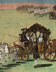 Hieronymus Löschenkohl: Einzug des marokkanischen Botschafters in Wien den 28. Februar 1783, kolorierter Kupf…