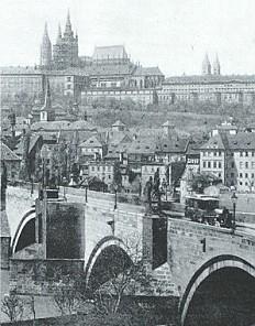 Photograph of the Hradčany seen from the Moldova, 19th century