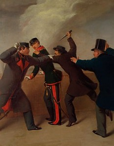 J. J. Reiner: Das Attentat auf Kaiser Franz Joseph I. am 18. Februar 1853, Ölgemälde, 1853