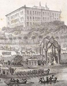 J.B. Debret: Ankunft der Prinzessin Leopldina in Rio de Janeiro, Lithographie