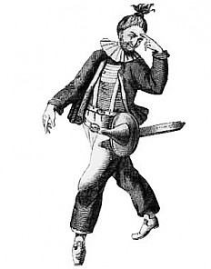Josef Anton Stranitzky as Hanswurst, c. 1720, photographic reproduction