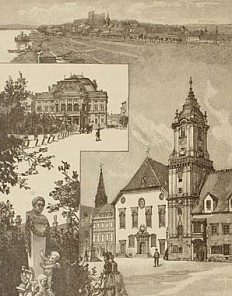 Julius Háry: Pressburg – Ansichtentableau, Illustration, 1898