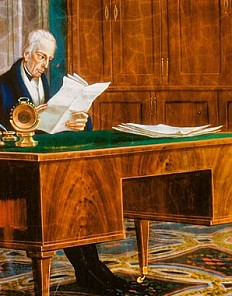 Emperor Franz II (I) at his desk in his study in the Hofburg, oil on sheet metal