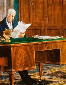 Kaiser Franz II./I. am Schreibtisch seines Arbeitszimmers in der Hofburg, Öl auf Eisenblech