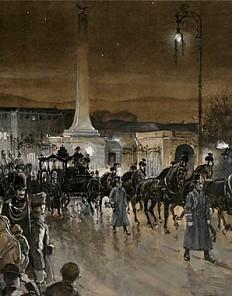 Funeral cortege of Emperor Franz Joseph, gouache
