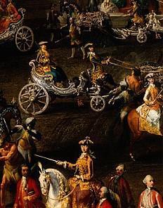 """Martin van Meytens und Werkstatt: """"Carussel in der Winterreitschule d. Hofburg v. 2. Jänner 1743"""", Mitte 18. …"""