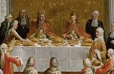 Studio of Martin van Meytens: The Coronation Banquet of Joseph II in the Römer in Frankfurt (detail), from ...