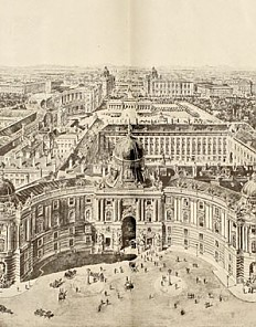 Scenographic view of the Vienna Hofburg, illustration, 19th century