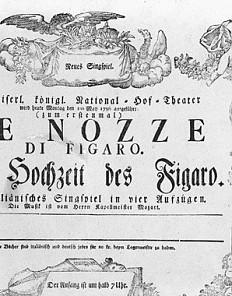 """Theaterzettel zur Uraufführung von Mozarts """"Die Hochzeit des Figaro"""" am 1. Mai 1786 im Burgtheater"""