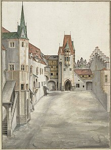 Albrecht Dürer: Courtyard of the former castle at Innsbruck (without clouds), watercolour, c. 1495