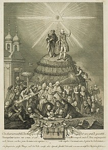 Allegory on the Tolerance Edict, copperplate engraving, 18th century