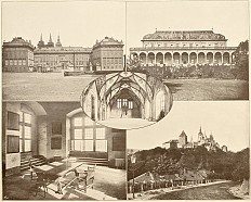 Tableau of views of the castle at Prague, photographs, 19th century