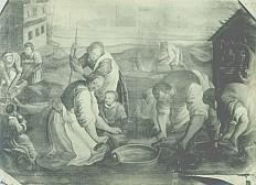 Bauernfamilie beim Schlachten eines Schweines, Öl auf Leinwand
