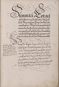 Beschreibung der Erbhuldigung der niederösterreichischen Stände an Matthias, 1609