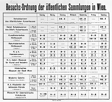 Schedule of the opening hours of the public collections in Vienna, 1907