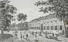 C. F. Strahlheim: Augarten – Saalgebäude, steelplate engraving, 1834/37