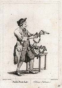 Carl Conti after Johann Christian Brand: 'Buy Italian sausages!/Salami Italiani!', copperplate engraving, 1775