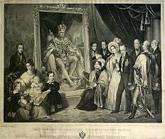 Die kaiserliche Familie vor dem Porträt von Franz II./I.
