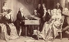 """Edouard Hamman: Mozart am Spinett, zum ersten Mal aus """"Don Giovanni"""" einer kleinen Gesellschaft Proben darbie…"""