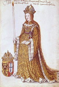 Figures for the tomb of Maximilian I: Empress Eleonora, 1522/23, coloured pen-and-ink drawing