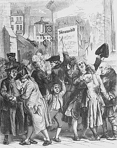 An exultant crowd celebrates the Tolerance edict of 13 October 1781