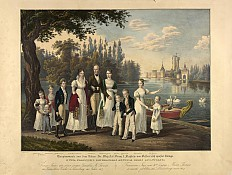 Franz Wolf (after Johann Nepomuk Hoechle): The imperial family at Laxenburg, lithograph, 1835