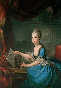 Franz Xaver Wagenschön: Erzherzogin Maria Antonia am Spinett, ca. 1769, Ölgemälde