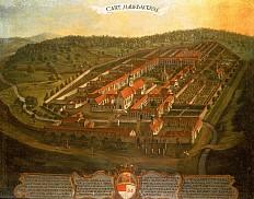 Historische Ansicht der Kartause Mauerbach, Ölgemälde, 18. Jahrhundert