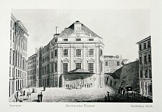 *In the Kärntner quarter: the Kärntnertor-Theater*, probably 1858, after an anonymous coloured copperplate en…