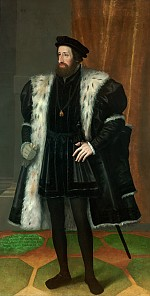 Johann Bocksberger the Elder: Emperor Ferdinand I (1503–1564), full-length portrait, mid-16th century, probab…