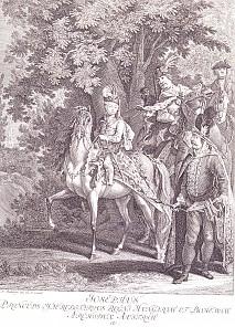 Johann Elias Riedinger: Joseph II. als Kind zu Pferd, Kupferstich, um 1750