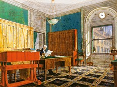 Johann Stephan Decker: Emperor Franz II (I) at his desk in his study in the Vienna Hofburg, 1826, oil on sh...