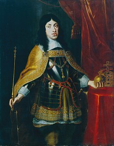 Johannes Thomas: Leopold I in armour with a golden mantle, the collar of the Order of the Golden Fleece and t…