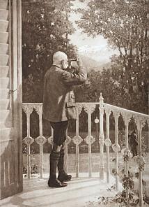 Josef Schuster: Kaiser Franz Joseph auf dem Balkon der Kaiservilla, Heliogravure, 20. Jahrhundert