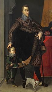 Joseph Heintz the Elder: Emperor Ferdinand II with a court dwarf, 1604