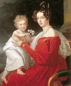 Joseph Stieler: Erzherzogin Sophie mit dem zweijährigen Franz Joseph, Ölgemälde, 1832