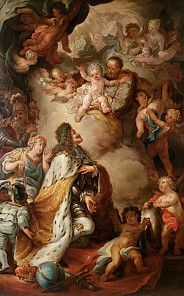 Emperor Leopold I commits the Austrian patrimonial lands to the protection of St Joseph, painting, c. 1690