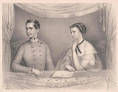 Krepp / Prückl: The young imperial couple Franz Joseph and Elisabeth in a loge, 1855
