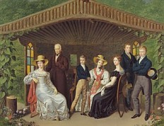 Leopold Fertbauer: Family portrait of the Imperial household surrounding the Duke of Reichstadt, oil painti...