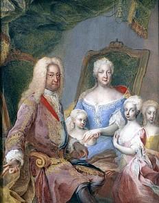 Martin van Meytens: Portrait der Familie Kaiser Karls VI., Pastell, 1730