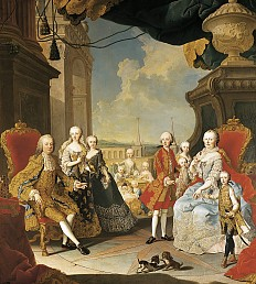 Martin van Meytens: Franz Stephan and Maria Theresa surrounded by their family, c. 1754/55, oil on canvas