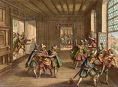 Matthäus Merian der Ältere: Der Prager Fenstersturz, Kupferstich, 1646