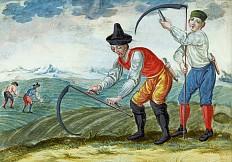 """Monatsbild aus dem Zyklus """"Das Bauernjahr"""", Gouache, drittes Viertel des 18. Jahrhunderts"""
