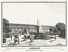 Schönbrunn - the Orangery and hothouse orchard, copperplate engraving, 1826