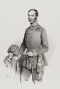 Archduke Albrecht in uniform, lithograph after Josef Kriehuber, 1851