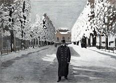 Emperor Franz Joseph on a winterly walk in the park of Schönbrunn Palace